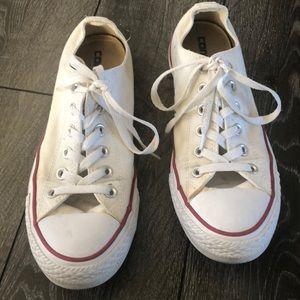 White converse. Women's size 9.5. Men's size 7.5